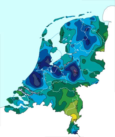 Langjarig gemiddelde neerslag in Nederland